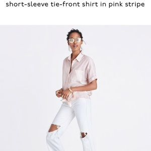 MADEWELL  tie-front shirt in pink stripe